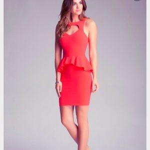 Bebe Bright Red Bodycon CutOut Dress XS